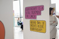 An information board about radiotherapy research